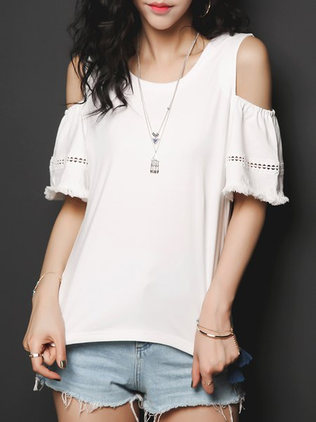 Off-shoulder Casual Crew Neck Half Sleeve T-Shirt