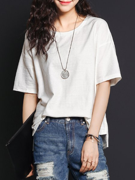 H-line Plain Polyester Half Sleeve Casual T-Shirt