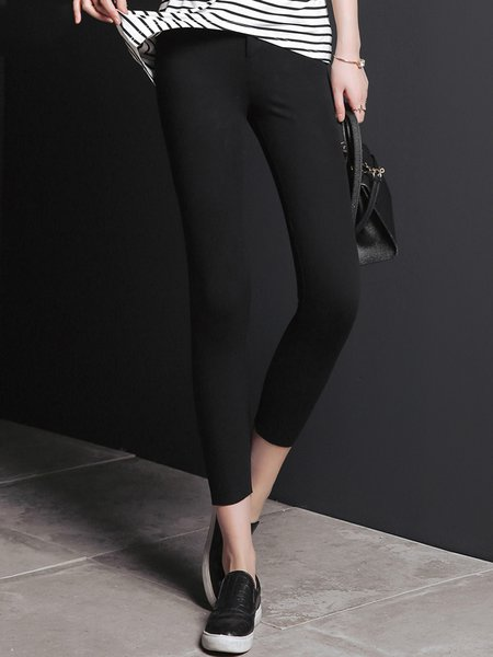 Black Casual Plain Pockets Skinny Leg Pants