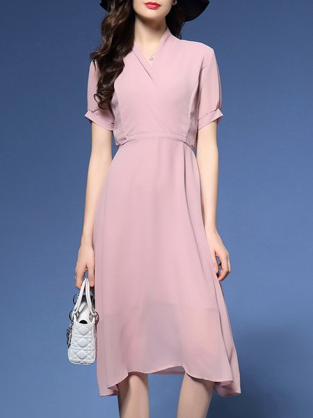 Pink Plain Short Sleeve Midi Dress