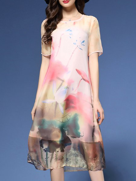 Multicolor Elegant Shift Midi Dress