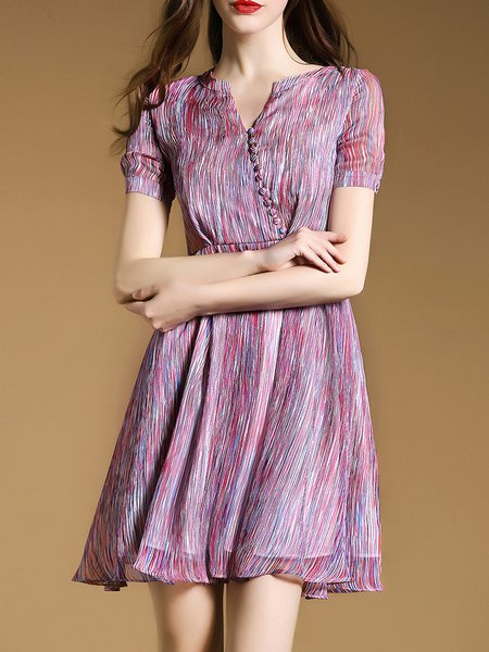 Pink Ribbed Polyester Elegant Mini Dress