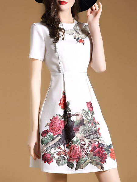 White Floral A-line Elegant Mini Dress