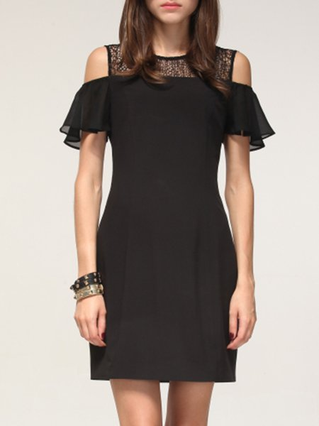 Black Ruffled Short Sleeve Sheath Mini Dress