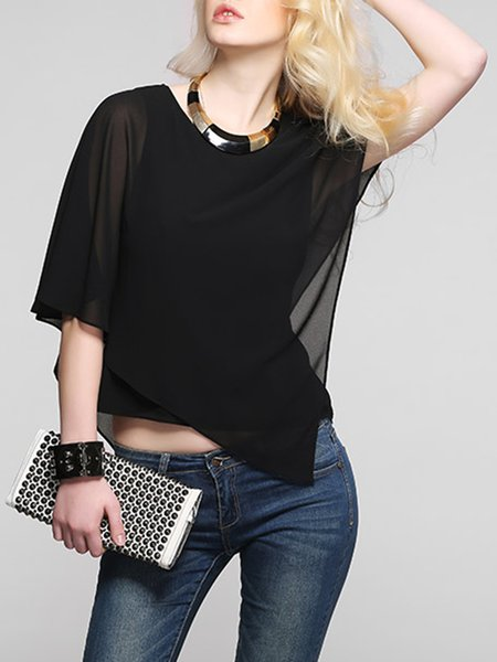 Black Asymmetric Crew Neck Short Sleeved Top