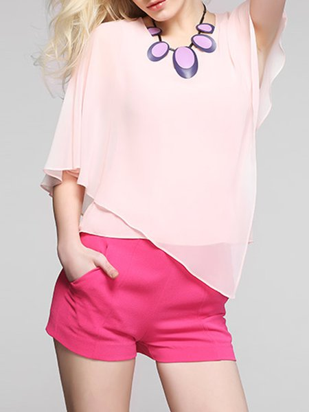 Pink Statement Asymmetric Short Sleeved Top