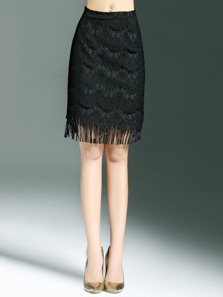 Black Crocheted Simple H-line Midi Skirt