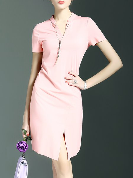 Slit Short Sleeve Sheath Simple Mini Dress