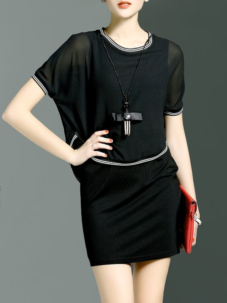 Black Crew Neck Paneled H-line Simple Mini Dress