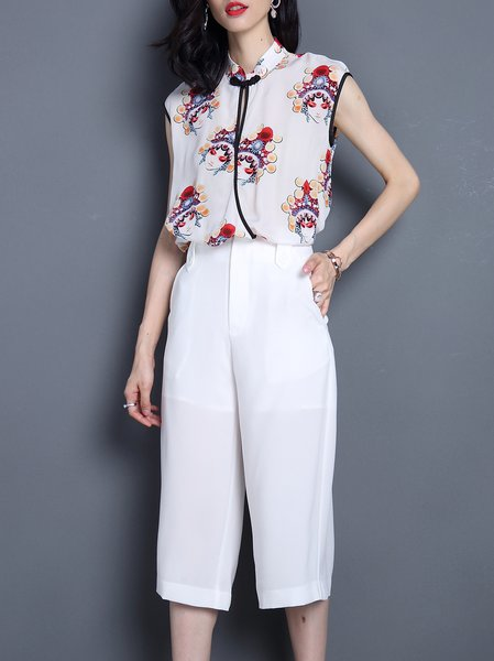 White Pockets Sleeveless Stand Collar Two Piece Jumpsuit