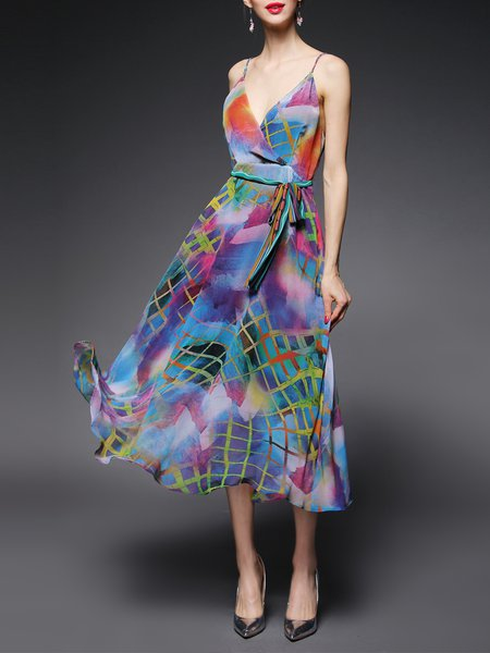 Multicolor  Abstract Printed Spaghetti Midi Dress