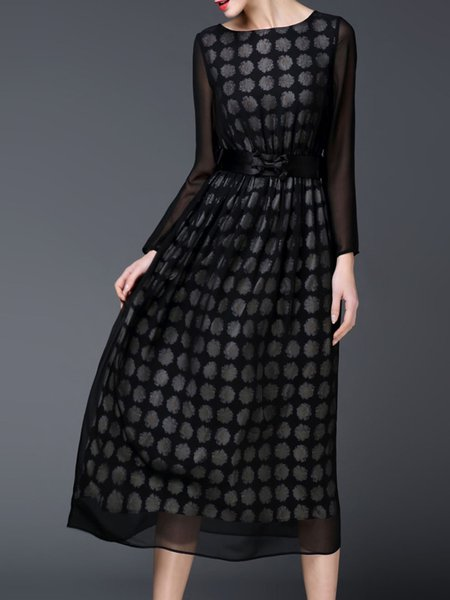Black Bateau/boat Neck Printed Polyester Casual Midi Dress
