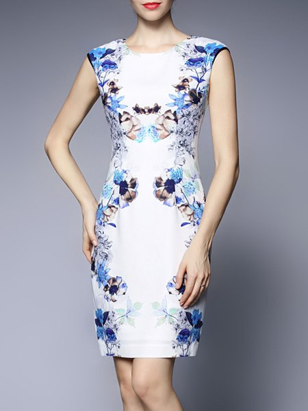 Floral Floral-print Elegant Sleeveless Mini Dress