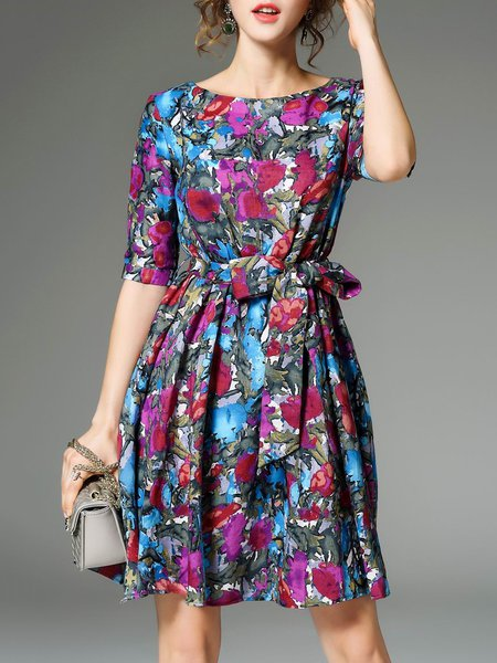 Multicolor Vintage Crew Neck Mini Dress with Belt