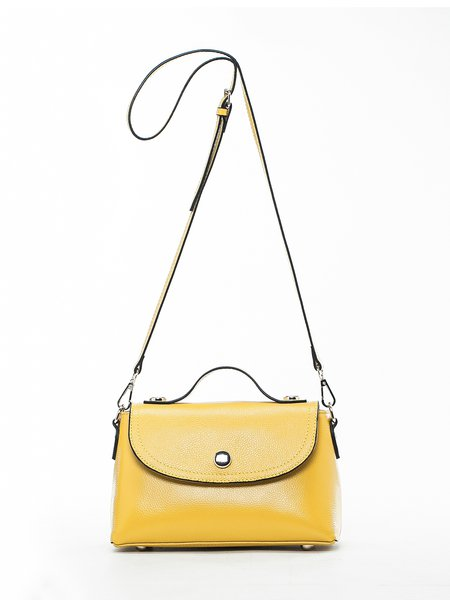Yellow Casual Cowhide Leather Magnetic Satchel