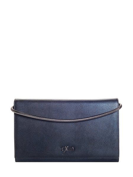 Blue Magnetic Cowhide Leather Clutch