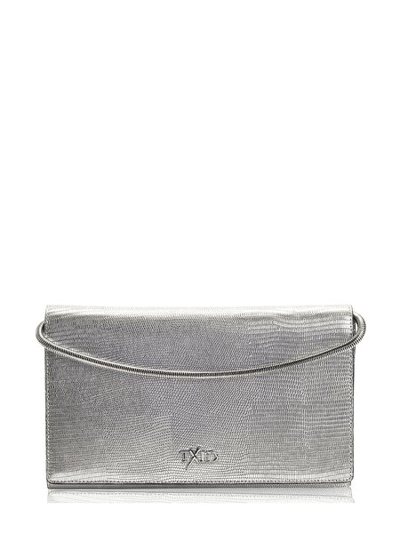 Silver Magnetic Cowhide Leather Clutch