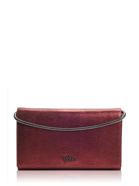 Wine Red Small Cowhide Leather Clutch