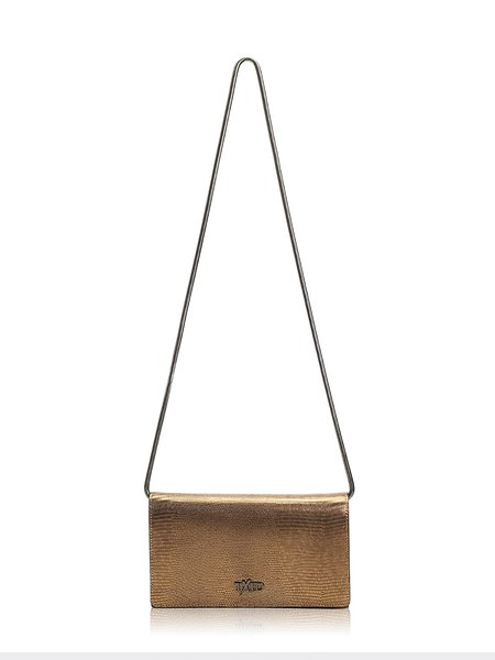 Golden Cowhide Leather Small Casual Crossbody