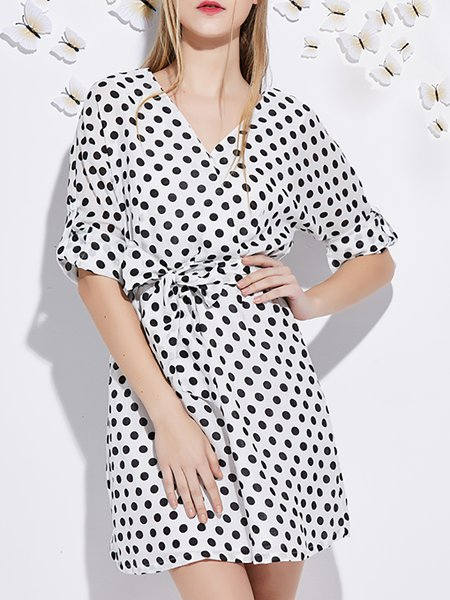 Dots Printed Linen Mini Dress with Belt