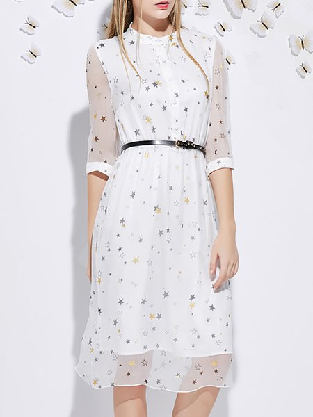 Star Printed Silk Midi Dress with Belt