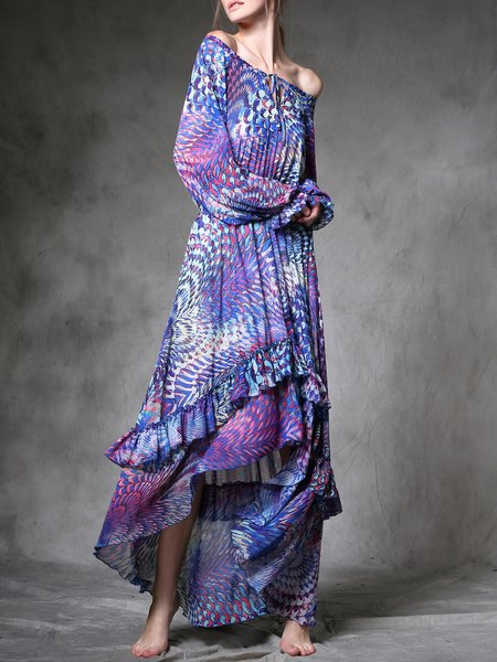 Abstract Long Sleeve Casual Maxi Dress