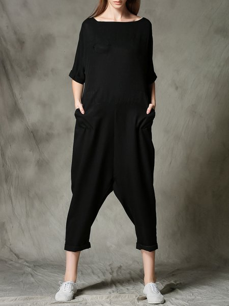 Black Plain Pockets Bateau/boat Neck Casual Jumpsuit