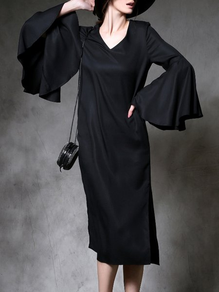 Black Shift Plain Frill Sleeve Midi Dress