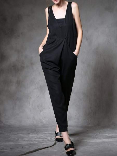 Black Plain Work Silk Overall With Belt And Strapless