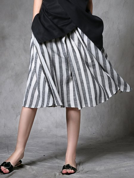 Gray Casual Linen Stripes Pockets Midi Skirt