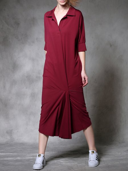 Red Shirt Collar Statement Plain Midi Dress