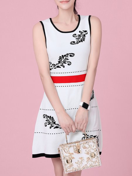 White Casual Sheath Floral Mini Dress