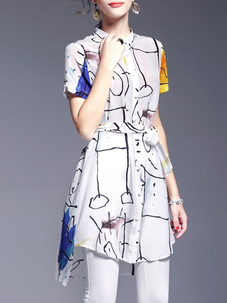 White Printed Silk Casual Asymmetrical Tunic