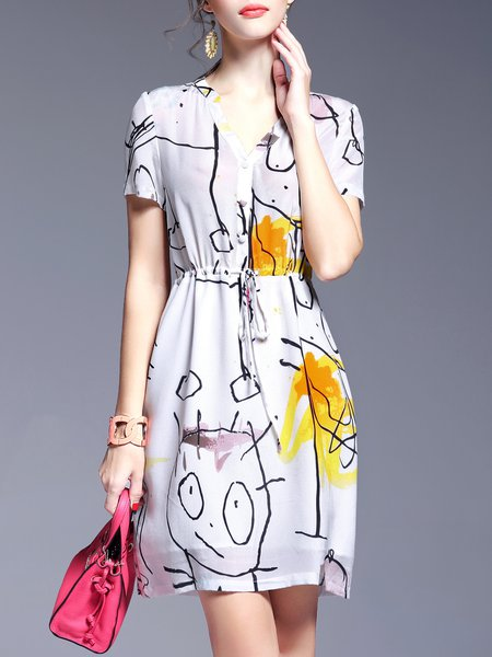 Short Sleeve Casual H-line Silk Shirt Dress