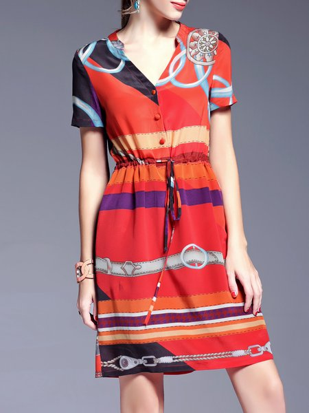Red Stand Collar Short Sleeve Shirt Dress