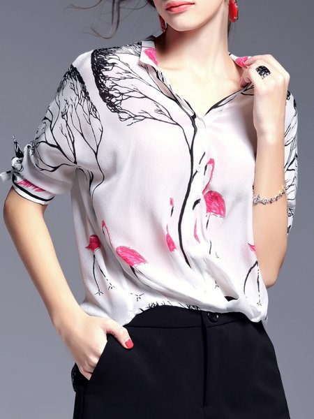 White Casual Silk Stand Collar Blouse