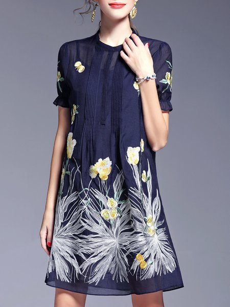 Two Piece Embroidered Vintage Short Sleeve Mini Dress