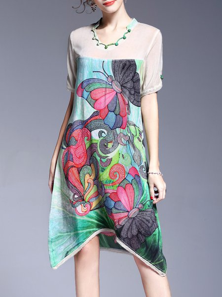 Green Short Sleeve Animal Print Asymmetrical Midi Dress