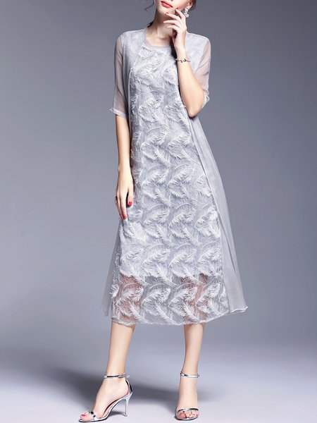 Gray Elegant Polyester Shift Midi Dress