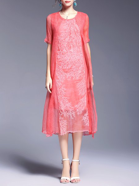 Elegant Silk Embroidered Shift Half Sleeve Midi Dress