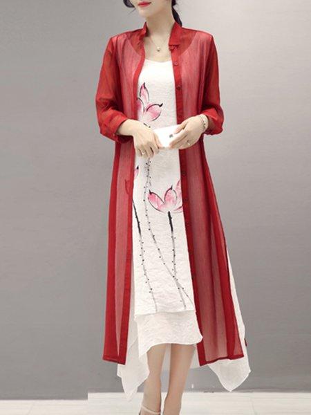 Elegant Two Piece 3/4 Sleeve Midi Dress