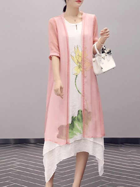 Pink Printed Linen Two Piece Half Sleeve Midi Dress