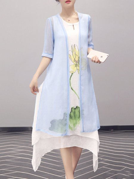 Blue Floral Two Piece Crew Neck Vintage Midi Dress