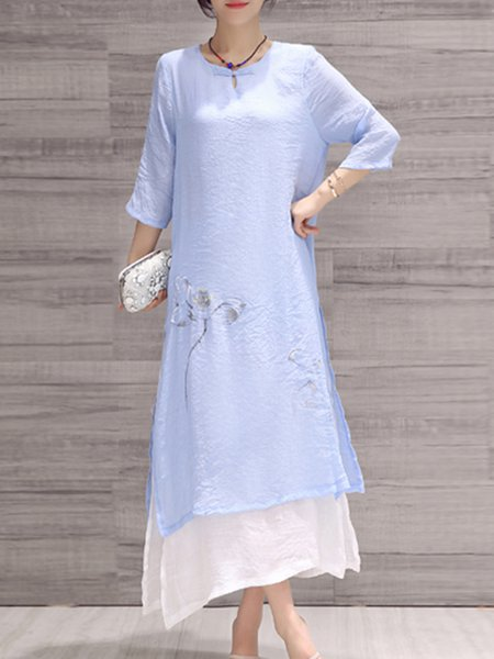 Light Blue Half Sleeve Cotton-blend Midi Dress