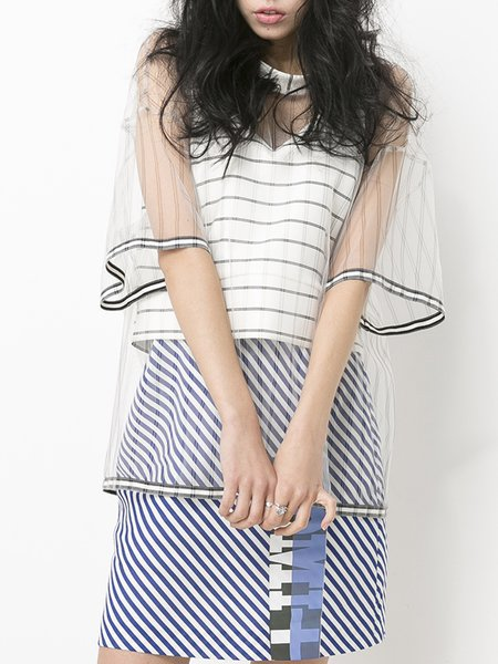 Mesh Two Piece Stripes Half Sleeve Statement T-Shirt