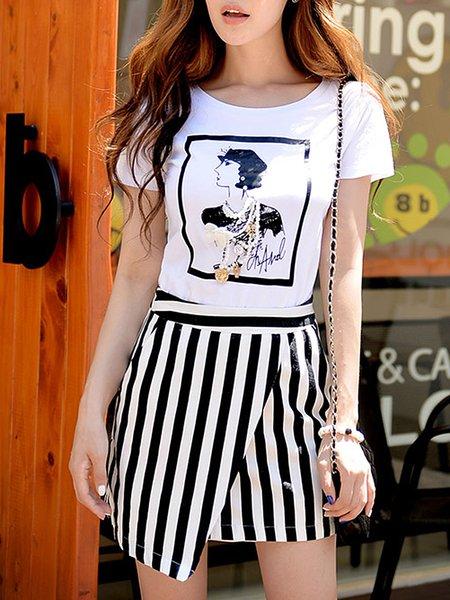 White Viscose A-line Stripes Casual Mini Skirt