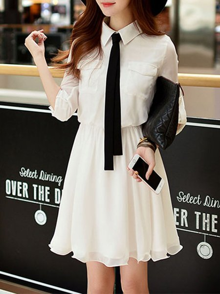 A-line Half Sleeve Shirt Collar Casual Mini Dress