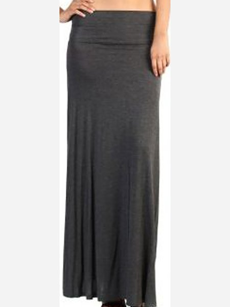 black sheath plain casual maxi skirt stylewe