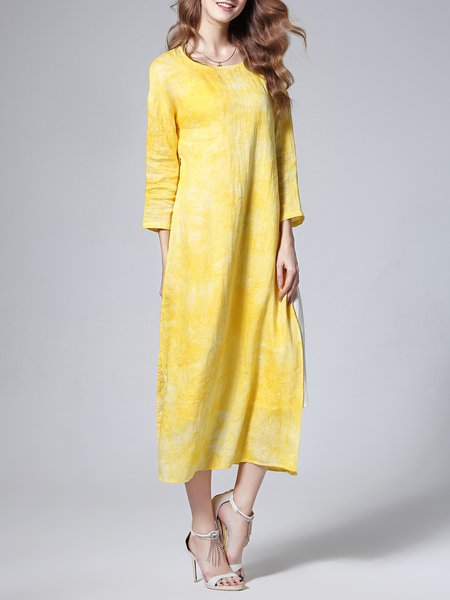 Yellow Elegant Crew Neck Midi Dress