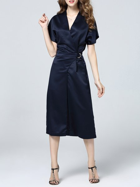 Navy Blue Plain Short Sleeve Paneled Polyester Jumpsuit